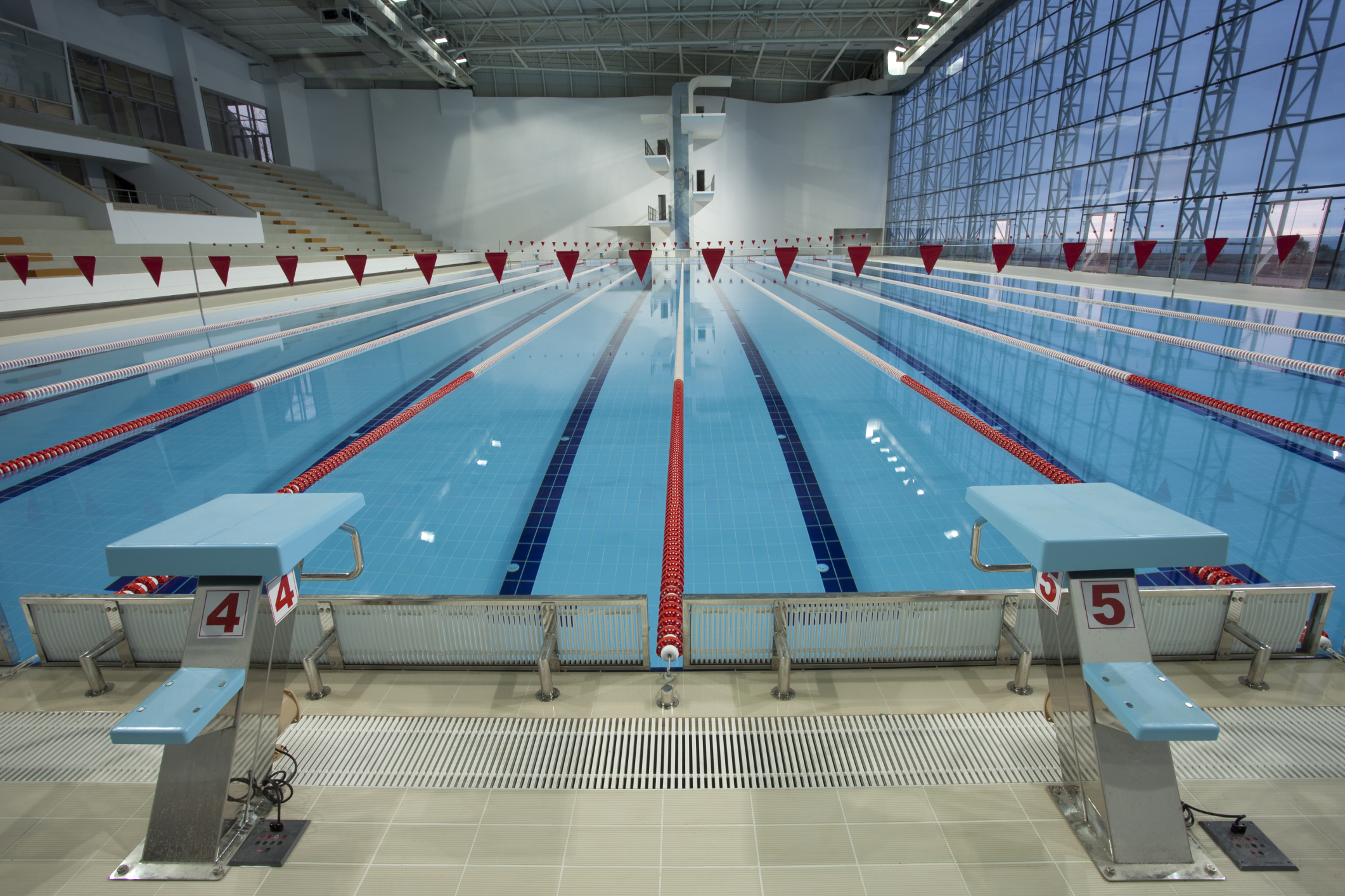 Olympic swimming pool empty and calm