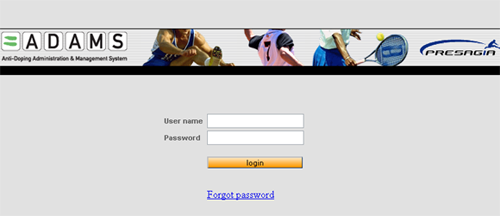 ADAMS Log-In Screen