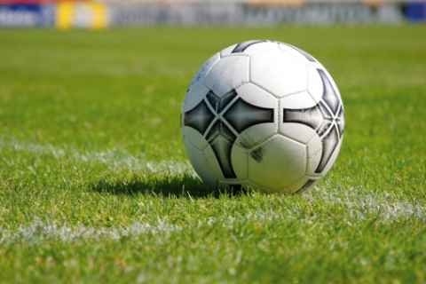 A soccer ball on the field