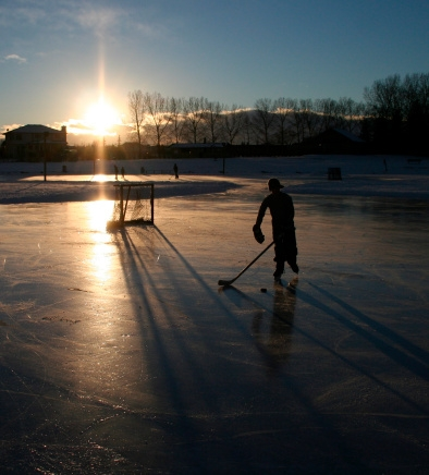 Shinny on the pond at twighlight