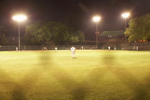 Softball game at dusk