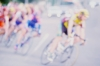 Water colour painting of a bicycle race