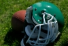 Football helmet and ball