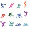 Des icônes colorés représentent des sports variés